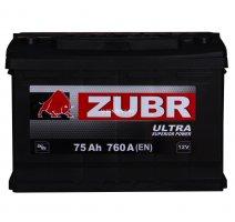 Автомобильный аккумулятор ZUBR ULTRA 75.0 12В 75Ач